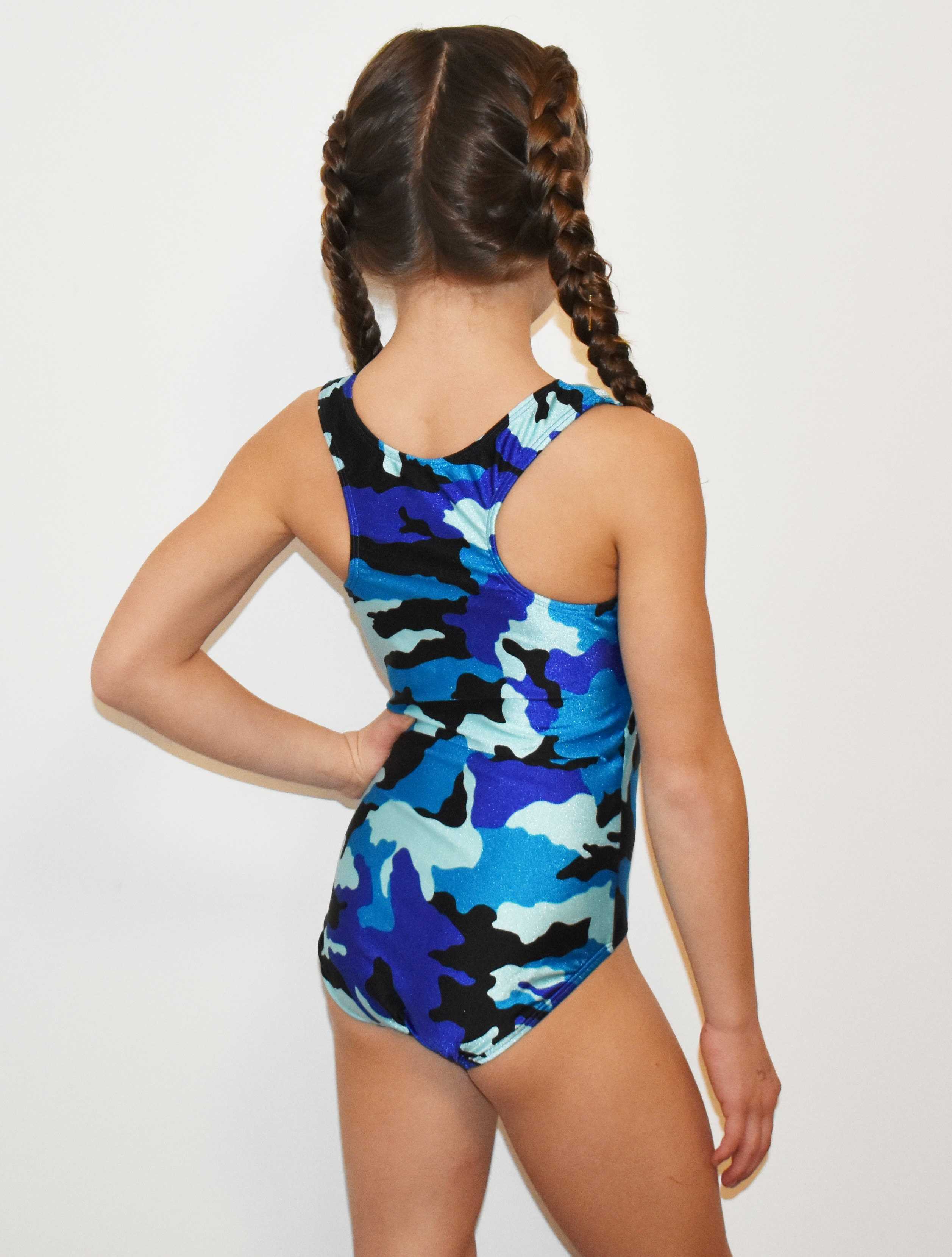 48b04fd42 BLUE CAMO gymnastics leotard RACER BACK